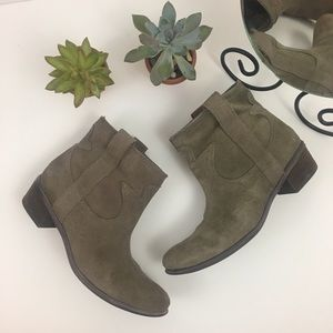 Lucky Brand Taupe Leather Pull On Ankle Boots